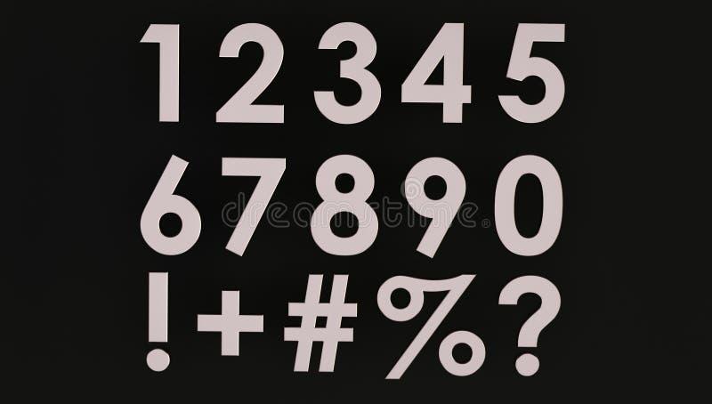 3d renderização de um conjunto de números metálicos com símbolo imagens de stock