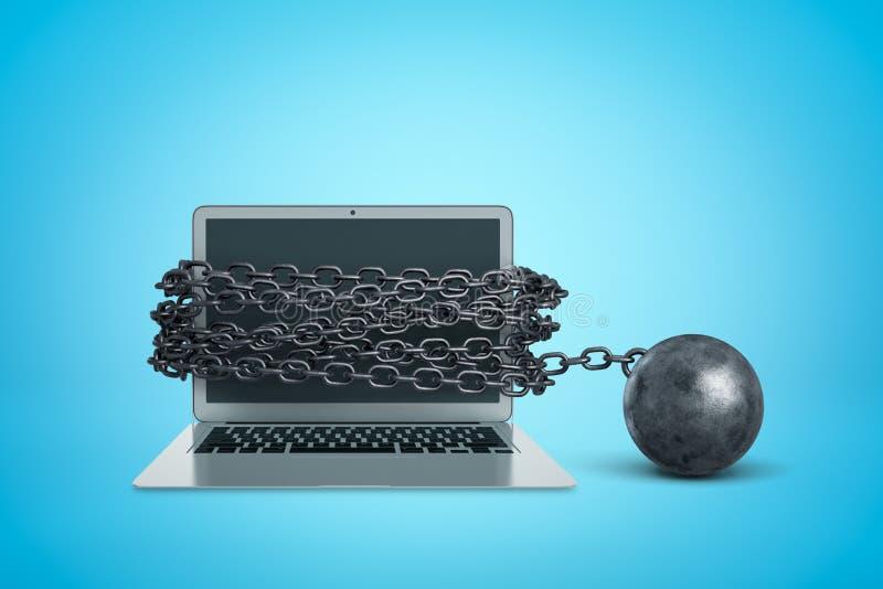 3d renderização do notebook acorrentado com esfera metálica sobre fundo azul fotografia de stock royalty free
