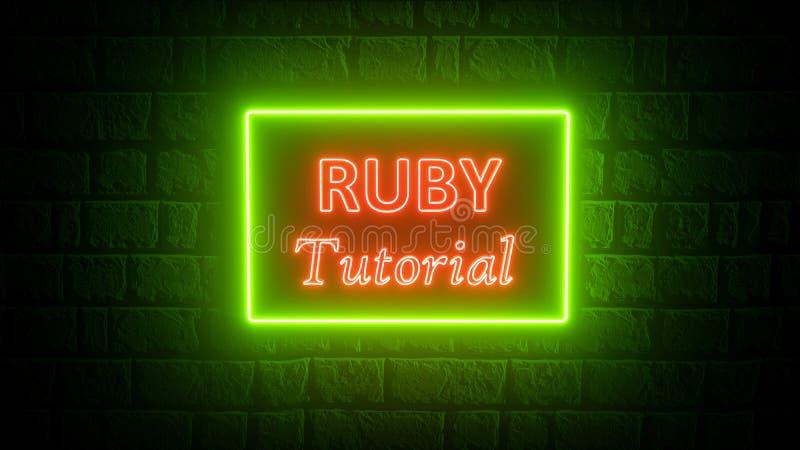 3d renderização do tutorial Ruby em cores neonatais na parede de tijolos Tutorial de programação Conceito de codificação Desenvol ilustração royalty free