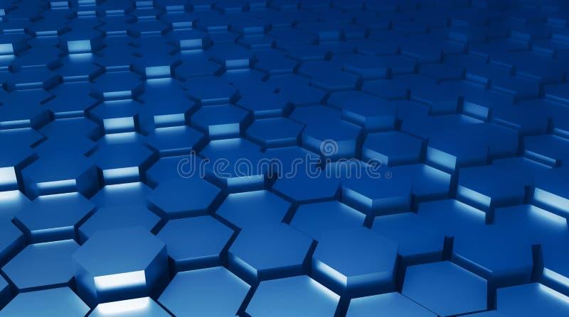 3d renderizado de fundo hexagonal abstrato metálico em cores azuis clássicas da tendência ilustração stock