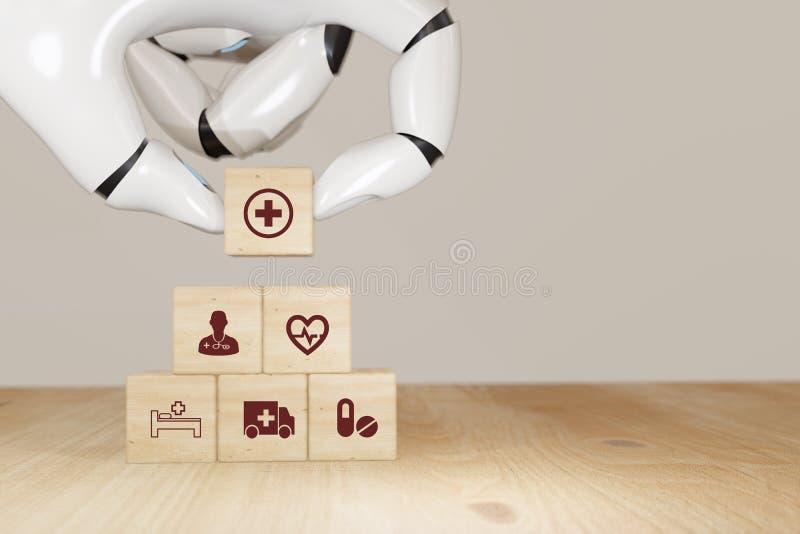 3d renderizado Robot elegir la atención de salud inteligente, concepto de seguro, cubo de madera simbolizar el seguro para proteg foto de archivo