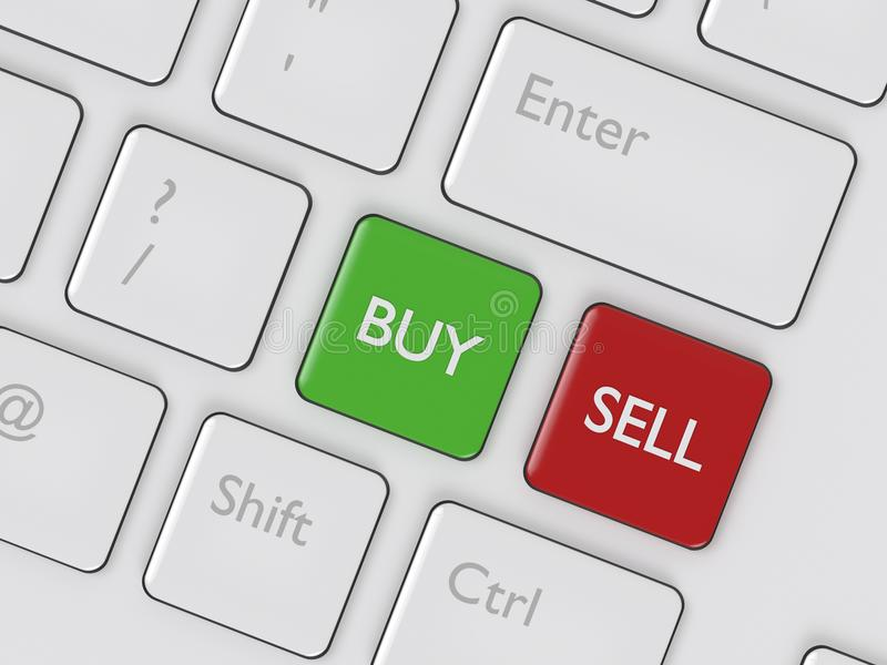 3d renderof键盘与买卖按钮 向量例证