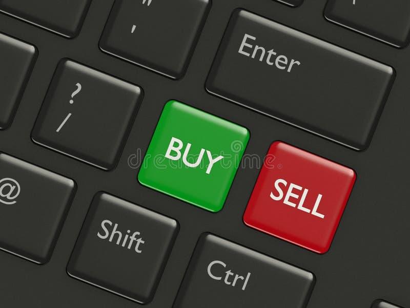 3d renderof键盘与买卖按钮 库存例证