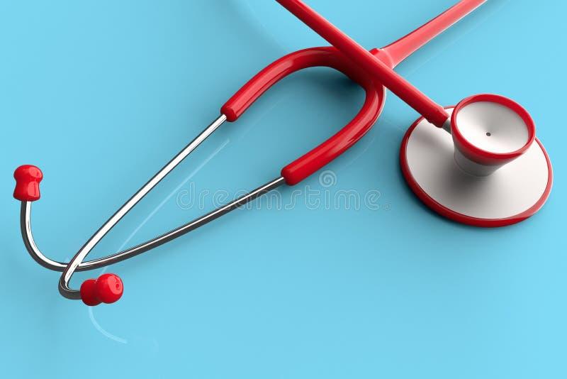 A stethoscope against a plain color. 3D renderong of a stethoscope against a plain color stock illustration