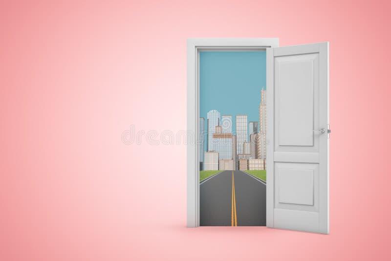 3d renderowanie otwartych drzwi białych na różowym tle, otwieranie na asfaltową drogę, która prowadzi do miasta skyscraper ilustracji