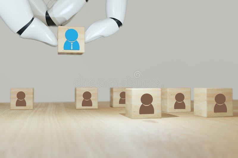 3d renderowanie Robot ręcznie wkładać, wybierać lub wybierać tego, który wpadł na pomysł, albo specjalny lub prawy człowiek do pr zdjęcia royalty free