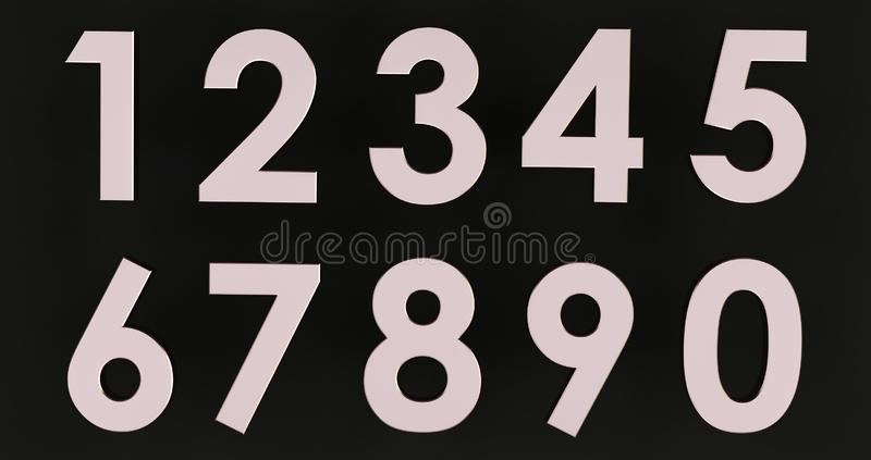 3d renderowanie zestawu liczb metalowych ilustracja wektor