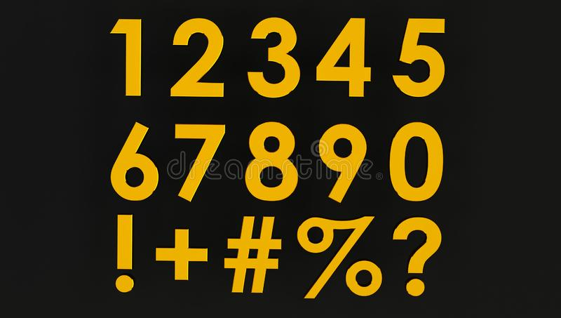 3d renderowanie zestawu złotych liczb z symbolem ilustracji