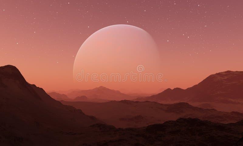 3d rendeu a arte do espaço: Planeta estrangeiro - uma paisagem da fantasia ilustração do vetor