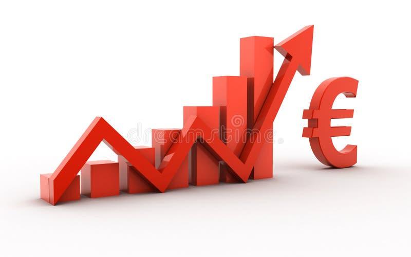 3d rendeu do símbolo e da seta do Euro isolados no fundo branco ilustração stock