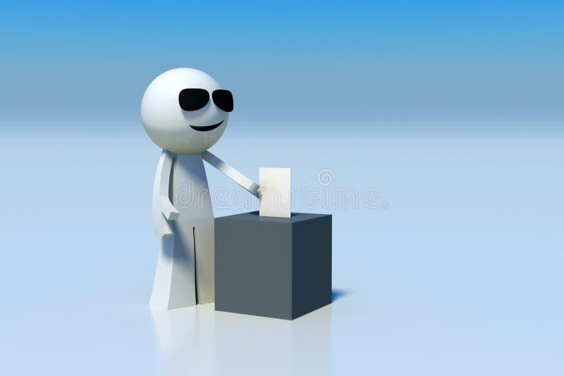 3D rendeu a figura voto da vara de carcaça do homem ilustração stock