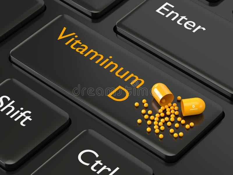 3d rendeu o comprimido da vitamina D que encontra-se no teclado ilustração do vetor