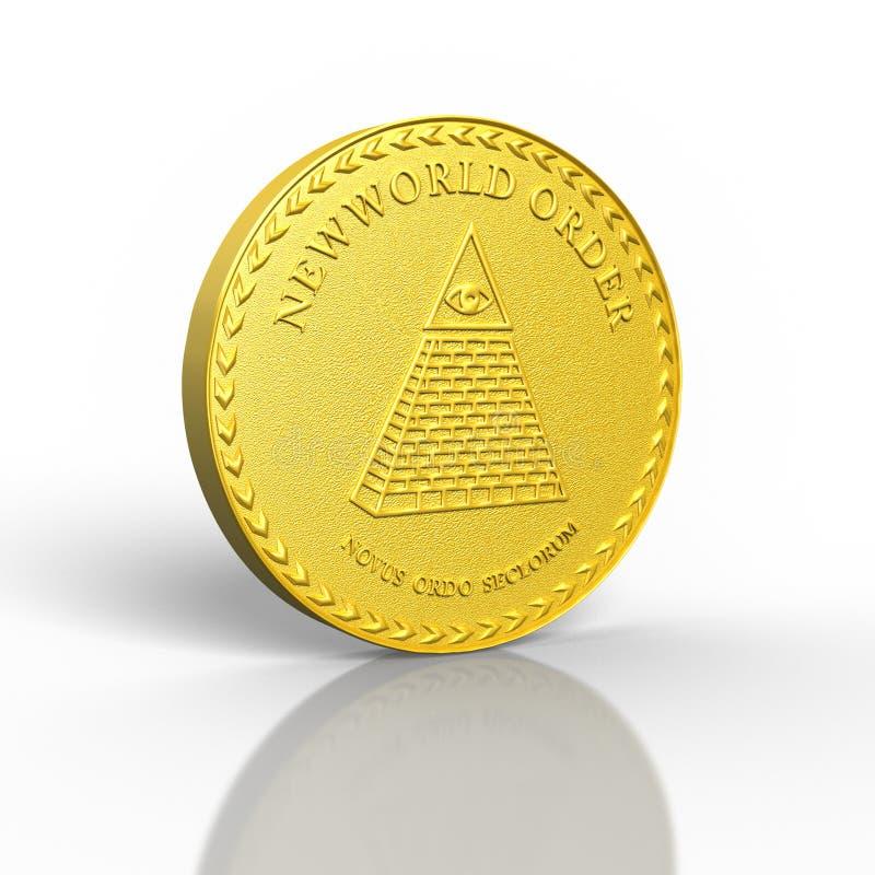 3D rendeu o conceito novo da moeda de ouro do ordem mundial ilustração stock