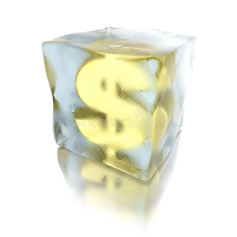dólar 3d congelado em um cubo de gelo, no fundo branco ilustração royalty free