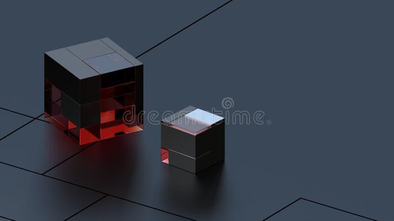 3D rendeu o fundo do metal da olá!-tecnologia e dos cubos de vidro no estúdio escuro ilustração stock
