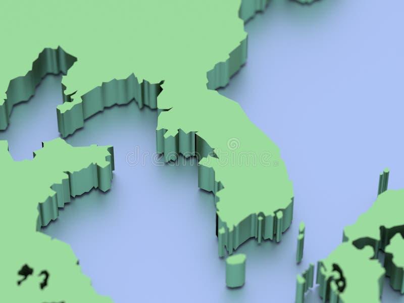3D rendeu o mapa de Coreia ilustração stock