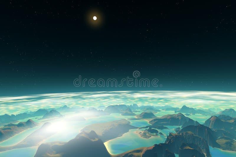 3d rendeu o planeta do estrangeiro da fantasia Em uma órbita ilustração do vetor
