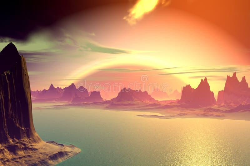 3d rendeu o planeta do estrangeiro da fantasia Rochas e por do sol ilustração royalty free