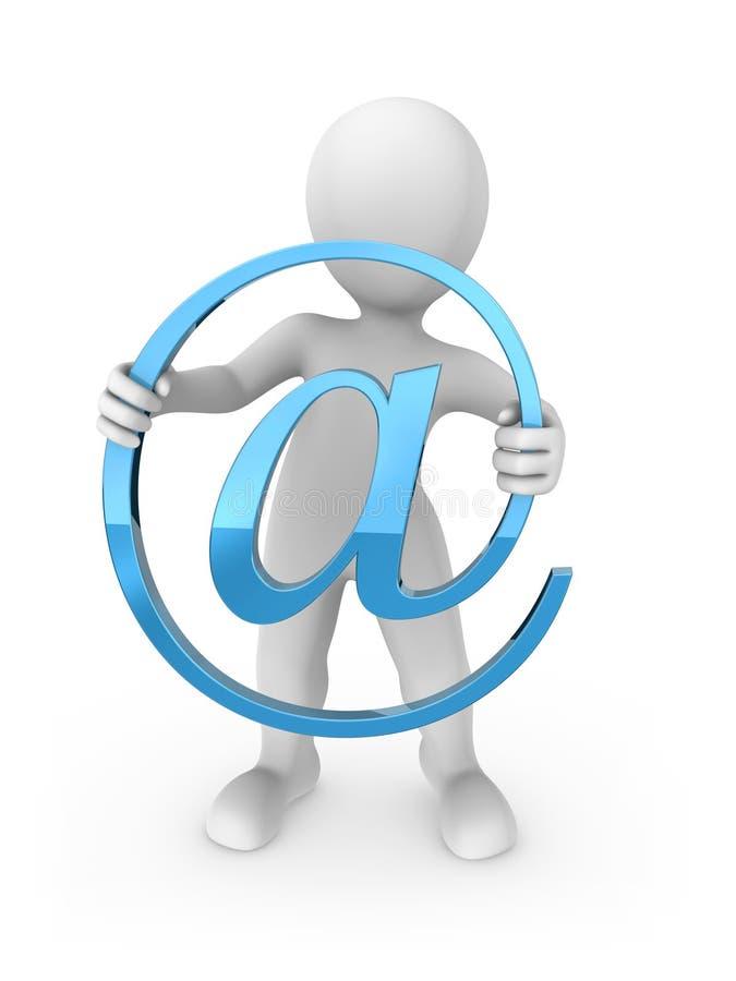 3d rendeu o ser humano branco com símbolo do e-mail ilustração do vetor