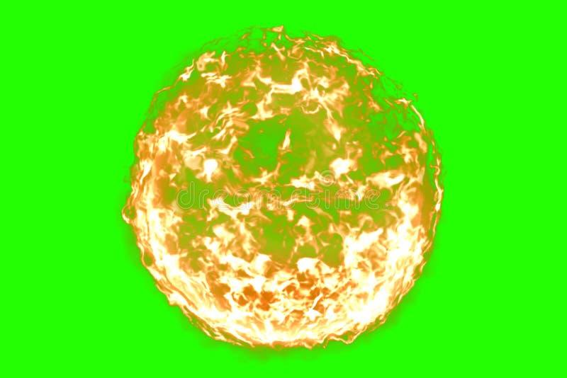 3D rendição, bola do fogo da chama no fundo de tela do verde da chave do croma, chama perigosa ilustração royalty free
