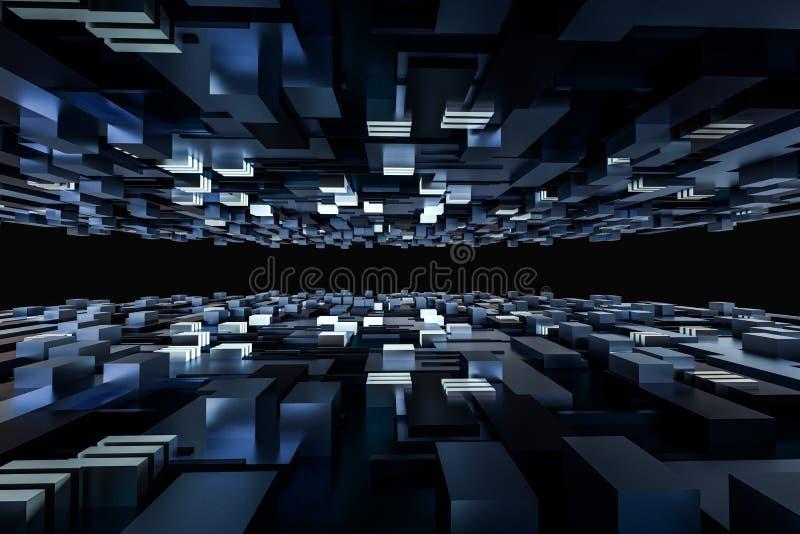3d a rendição, cubos embarca o espaço, mundo de fantasia imagens de stock