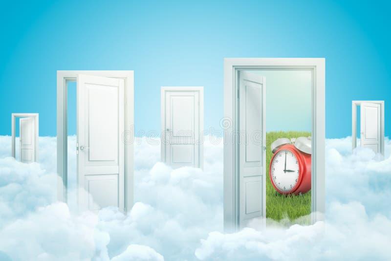 3d rendição de cinco portas que estão em nuvens macias, uma porta que conduz para esverdear o gramado com o despertador vermelho  ilustração royalty free