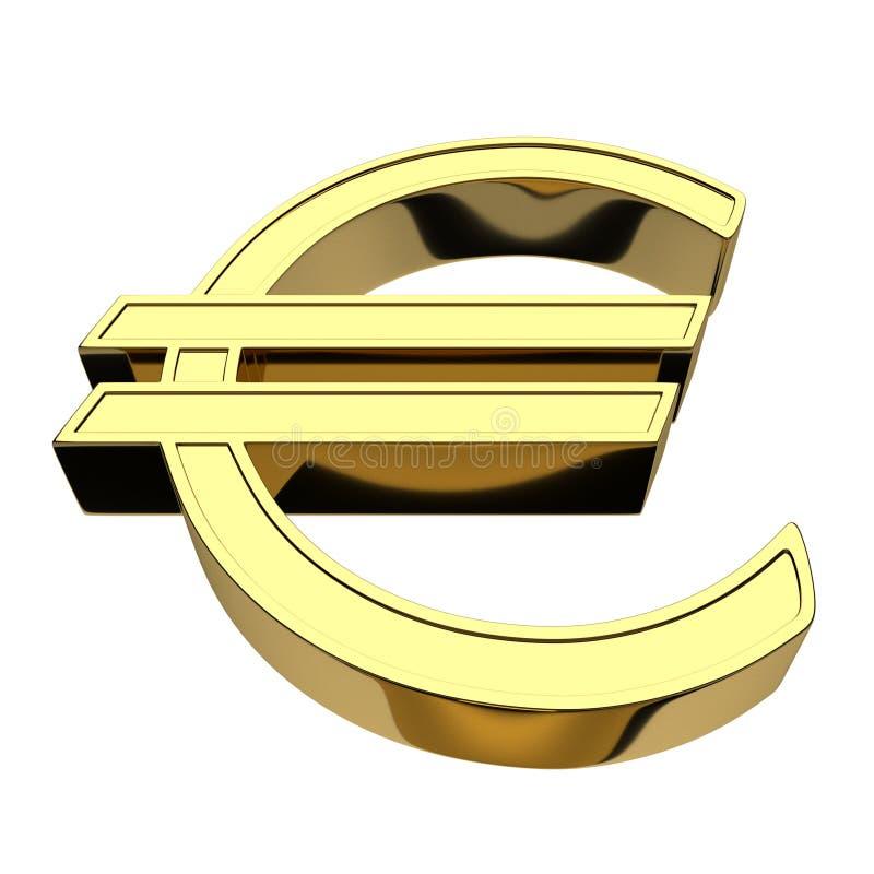 3D rendição de um símbolo do Euro da moeda, ouro, isolado no fundo branco ilustração do vetor