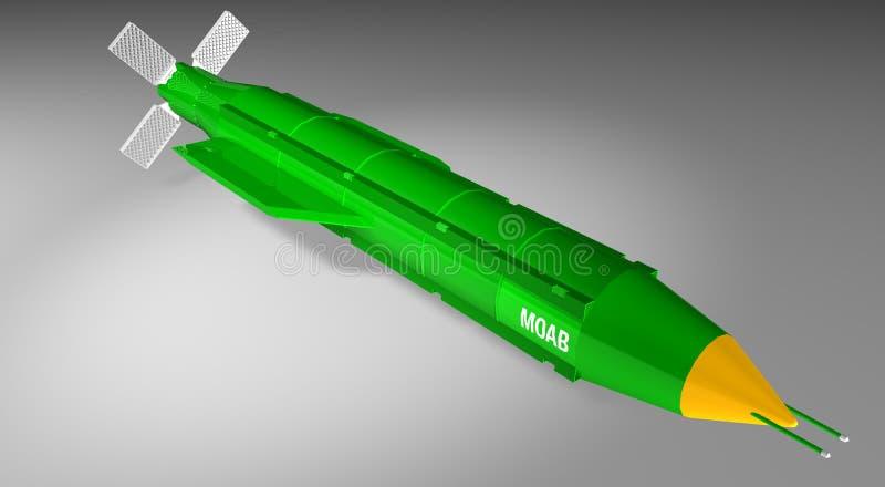 3D rendição do jato de ar maciço da ordenança - MOAB - bomba ilustração do vetor