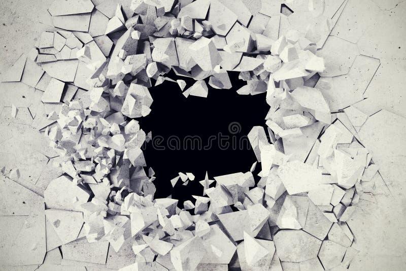 3d rendição, explosão, muro de cimento quebrado, buraco de bala, destruição, fundo abstrato ilustração royalty free