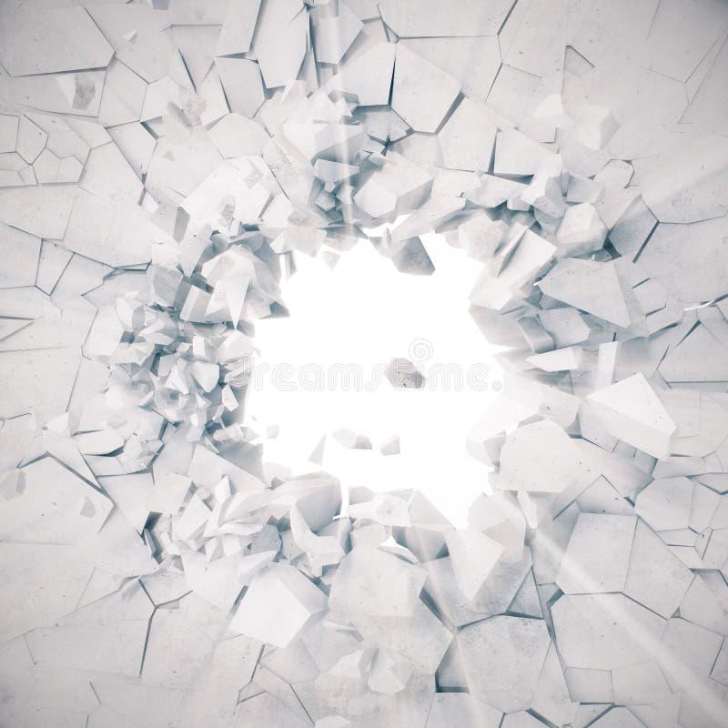 3d rendição, explosão, muro de cimento quebrado, terra rachada, buraco de bala, destruição, fundo abstrato com volume ilustração stock