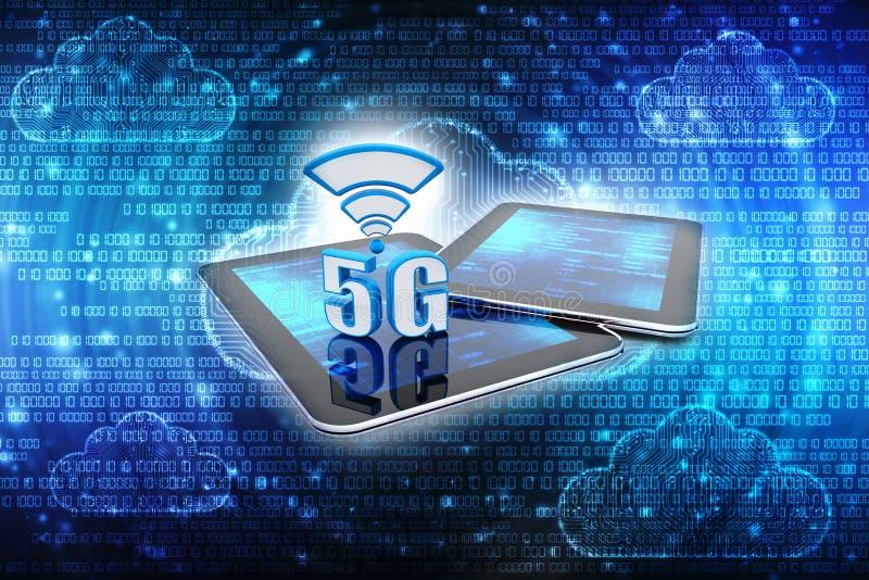 3d rendição, 5G rede, conceito da conexão 5G ilustração stock