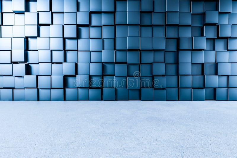 3d rendição, parede criativa dos cubos com assoalho ilustração stock
