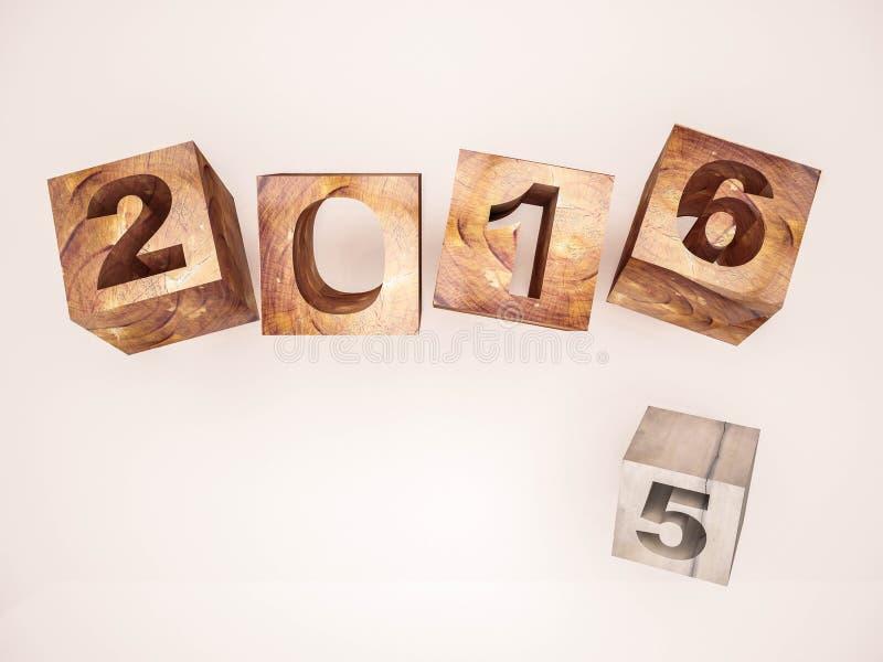3d rendido, cambio abstracto 2015 a 2016 del año ilustración del vector