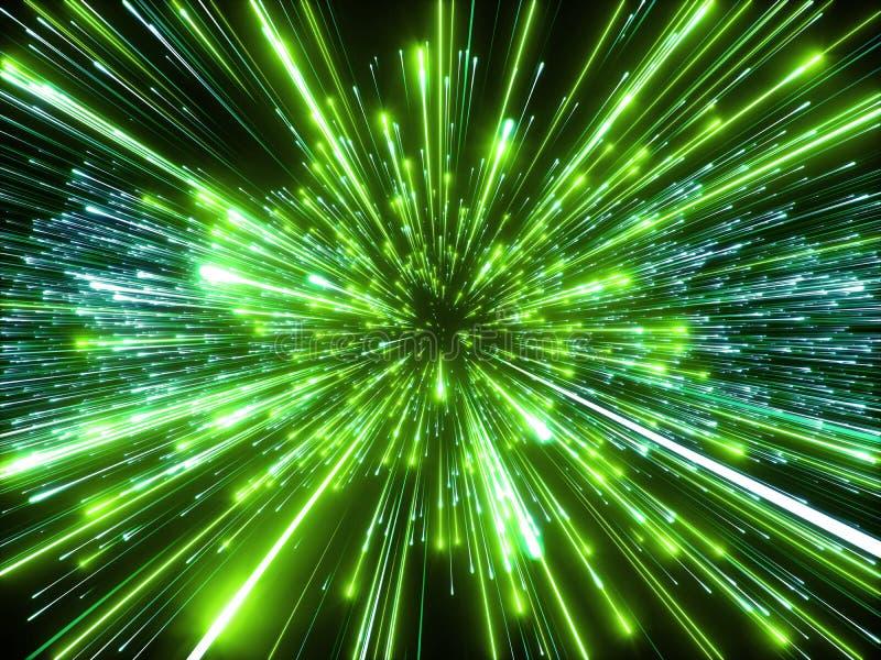 3d rendono, Big Bang, galassia, fondo cosmico astratto, velocità della luce, fuochi d'artificio verdi, incandescenza al neon, ste illustrazione di stock