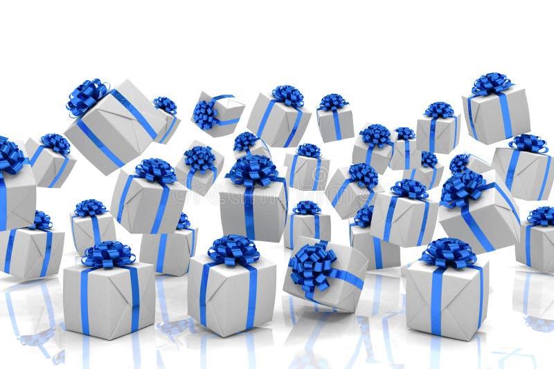 3d rendono dei regali di Natale di caduta illustrazione di stock