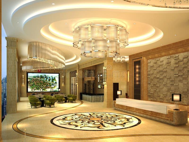 3d rendono del corridoio dell'hotel royalty illustrazione gratis