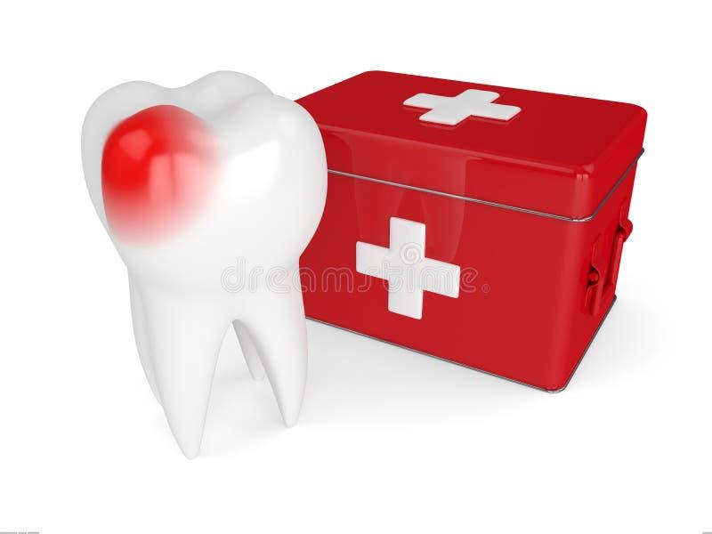 3d rendono del dente con la cassetta di pronto soccorso illustrazione di stock