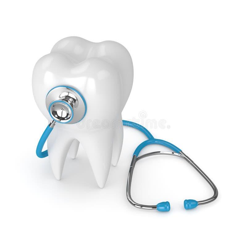 3d rendono del dente con lo stetoscopio sopra bianco royalty illustrazione gratis