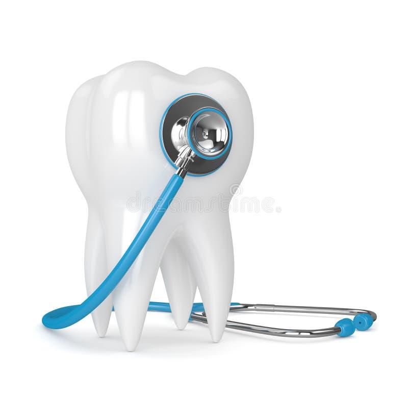 3d rendono del dente con lo stetoscopio sopra bianco illustrazione di stock