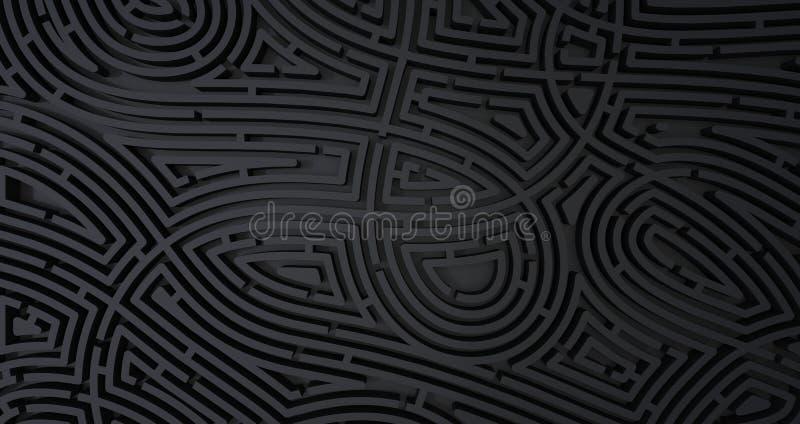 3d rendono del fondo bianco astratto del labirinto nero complicato royalty illustrazione gratis