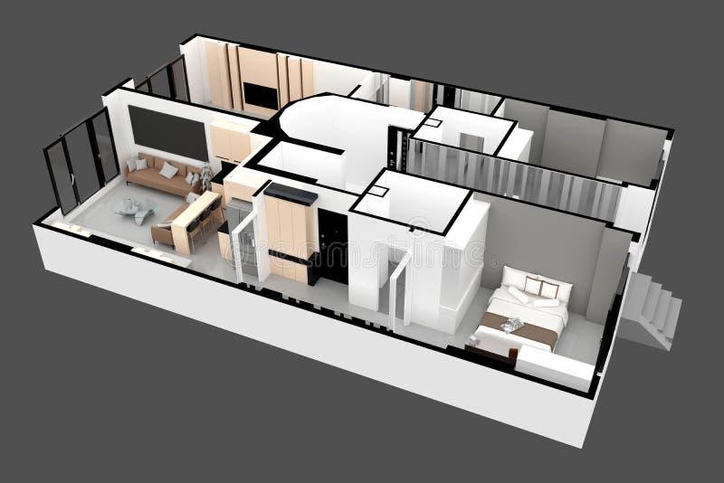 3d rendono del piano dell'appartamento illustrazione vettoriale