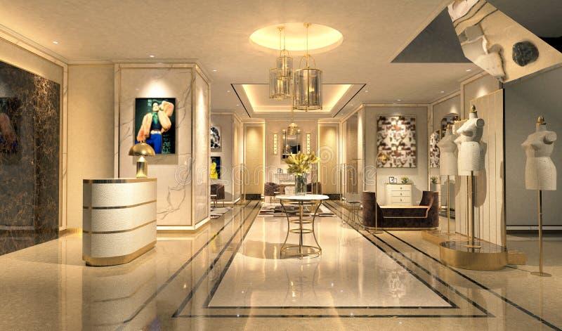 3d rendono dell'ingresso dell'hotel royalty illustrazione gratis