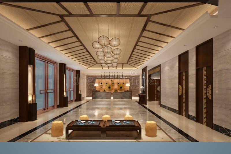 3d rendono dell'ingresso moderno dell'hotel illustrazione vettoriale