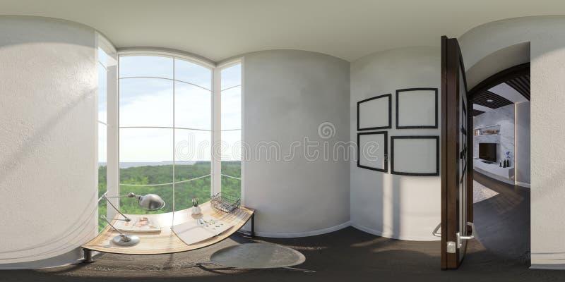 3d rendono dell'interior design di un Ministero degli Interni illustrazione vettoriale