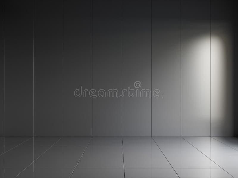 3d rendono dell'interno lucido nero con i pannelli verticali sulla parete immagine stock