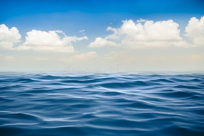 3d rendono dell'oceano e di bello cielo blu illustrazione vettoriale