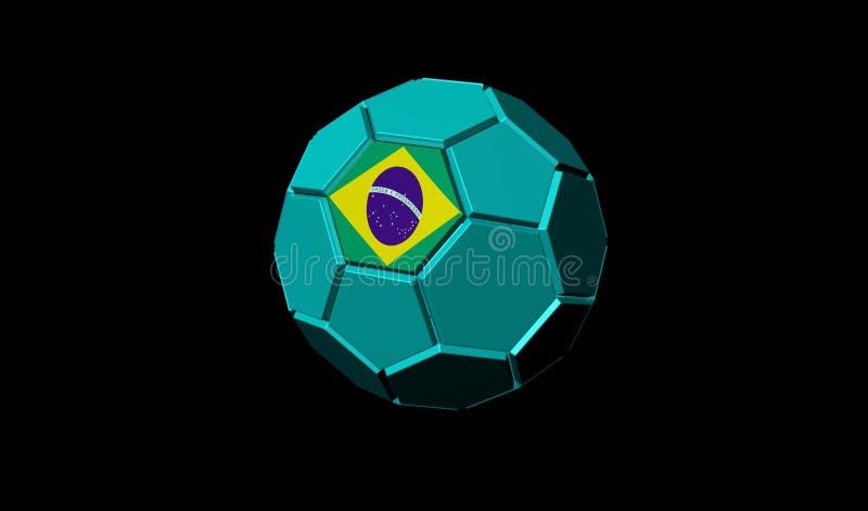 3D rendono della bandiera del Brasile del pallone da calcio royalty illustrazione gratis