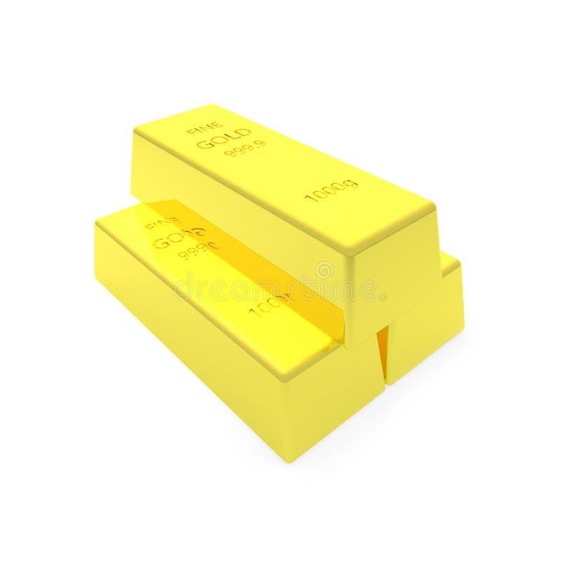 3d rendono della barra di oro su bachground bianco fotografia stock