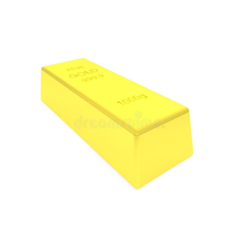 3d rendono della barra di oro su bachground bianco fotografie stock