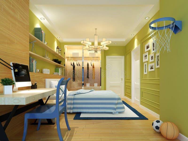 3d rendono della camera da letto dell'adolescente royalty illustrazione gratis